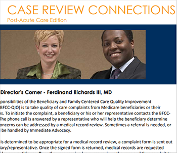 screen shot of case review connections newsletter